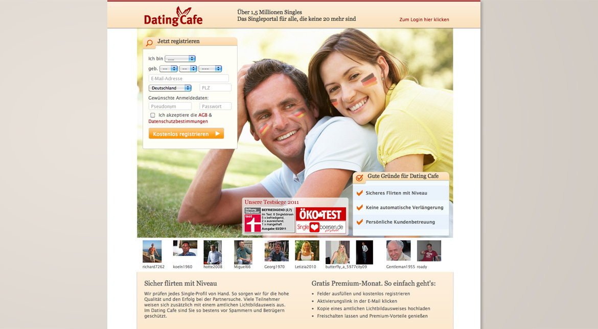Landing Page Dating Cafe